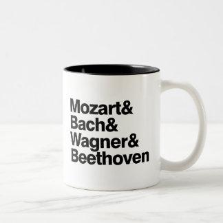 Klassisk musik - kompositörer sätter band den Två-Tonad mugg