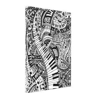 Klassisk musikklotter med pianotangentbord canvastryck