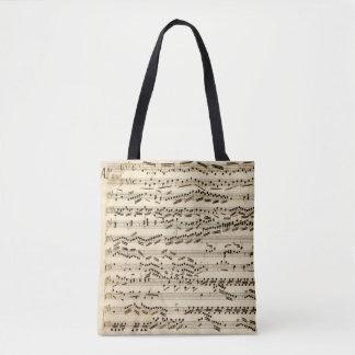 Klassisk musikmanuskript med klavhäften tygkasse
