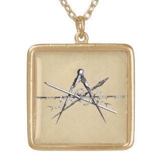 Klassiskt arkitekturskissningverktyg guldpläterat halsband
