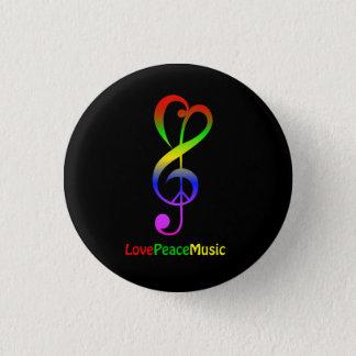 Klav för treble för hippie för kärlekfredmusik mini knapp rund 3.2 cm