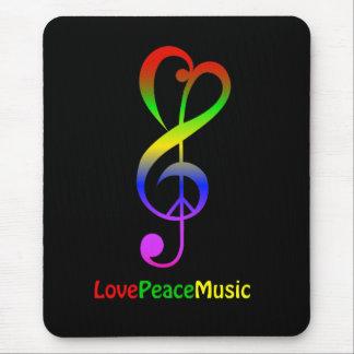Klav för treble för hippie för kärlekfredmusik musmatta