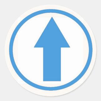 Klibba det till den ljusa påverkan - - blått runt klistermärke