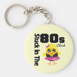 Klibbat i 80-talchicken rund nyckelring
