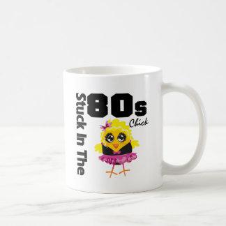 Klibbat i 80-talchicken vit mugg