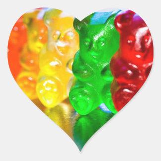 Klibbiga björnar hjärtformat klistermärke