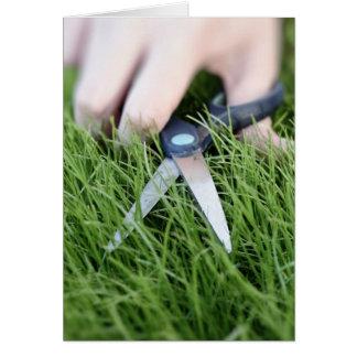 Klipp gräset med en para av sax hälsningskort
