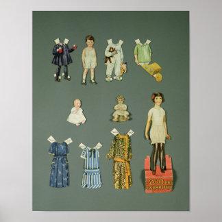 Klipp ut dockan och kläder, den sena 30-tal 1920s- poster