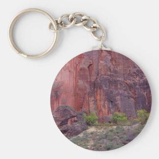 Klippor för krökning för Zion kanjoner röda stora Rund Nyckelring