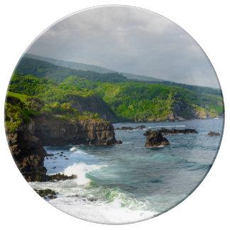 Klippor i Maui Hawaii Porslin Tallrikar