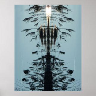 """""""Klipsk fri"""" abstrakt Aquasvartaffisch Poster"""