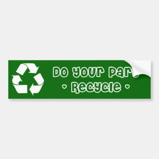 Klistermärke: Återvinnan gör din del Bildekal