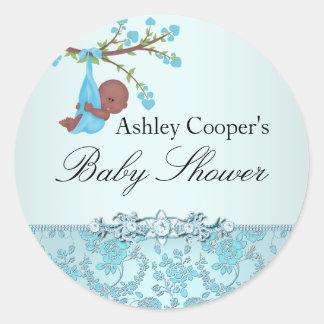 Klistermärke för baby shower för blåttroträdgård