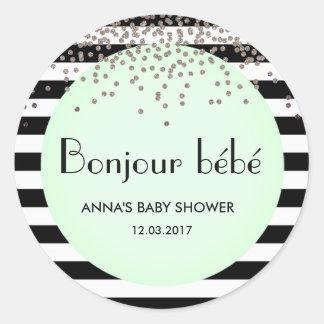 Klistermärke för baby shower för Bonjour