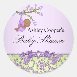 Klistermärke för baby shower för lila- &