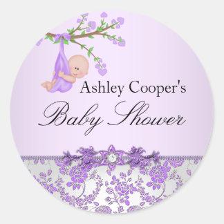 Klistermärke för baby shower för lilaroträdgård