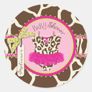 Klistermärke för baby shower för SafaritryckTutu