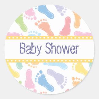 Klistermärke för babyfotspårbaby shower