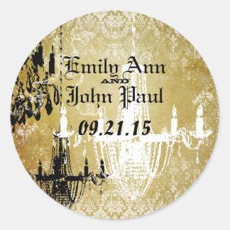Klistermärke för bröllop för damastast ljuskrona