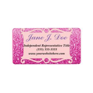 Klistermärke för broschyr för rosaglitterram adressetikett