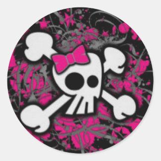 Klistermärke för Cutie purpurfärgad skallerunda
