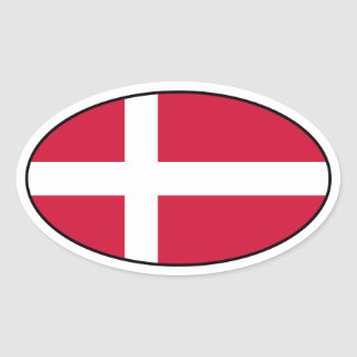 Klistermärke för Danmark flaggaOval