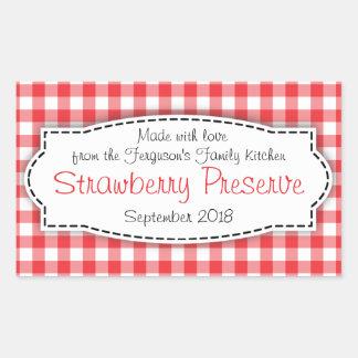 Klistermärke för etikett för mat för jordgubbesylt