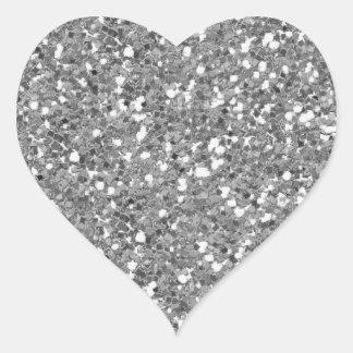 Klistermärke för hjärta för silverglitter (Faux)