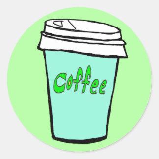 klistermärke för kaffekoppblått