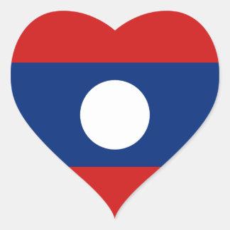 Klistermärke för Laos flaggahjärta