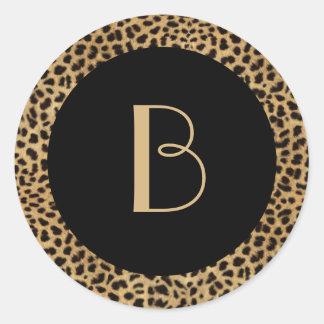 Klistermärke för LeopardtryckMonogram