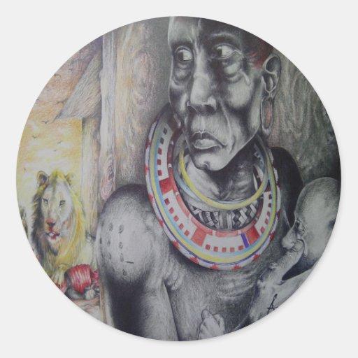 Klistermärke för Masaikvinnaprydnadar