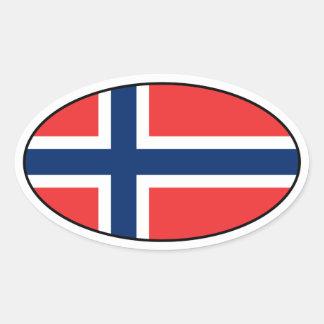 Klistermärke för norgeflaggaOval