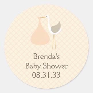 Klistermärke för persikaStorkbaby shower
