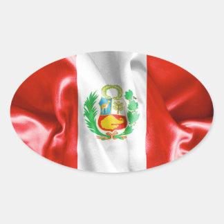 Klistermärke för Peru flaggaOval