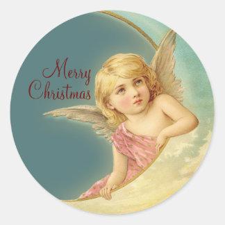 Klistermärke för runda för god julvintageängel