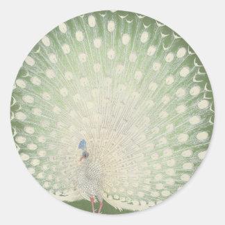 Klistermärke för runda för påfågel för konst | för