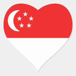 Klistermärke för Singapore flaggahjärta