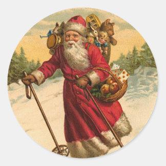 Klistermärke för skidåkningSanta jul