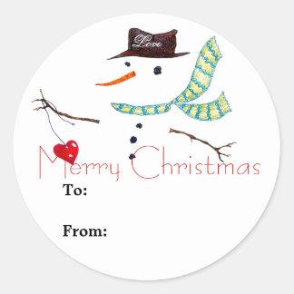 Klistermärke för snögubbe för gåvaetikettjul