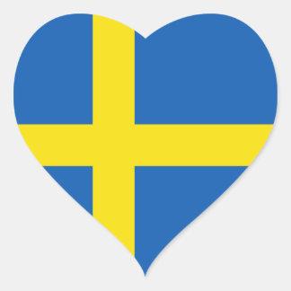 Klistermärke för sverigeflaggahjärta