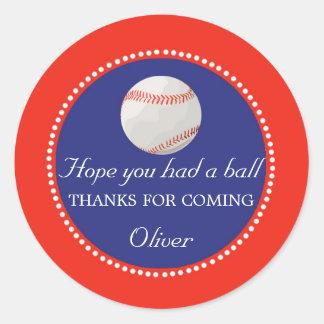Klistermärke för tack för baseballfavöretikett