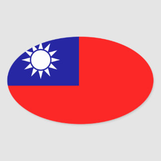 Klistermärke för Taiwan flaggaOval