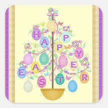 Klistermärke för träd för påskhälsningägg