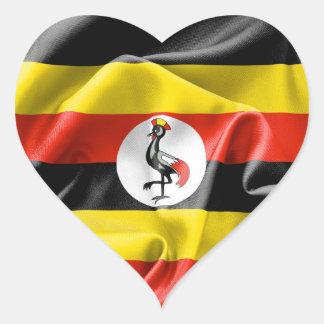 Klistermärke för Uganda flaggahjärta