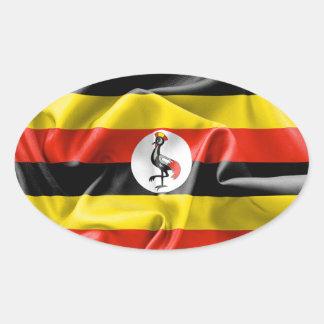 Klistermärke för Uganda flaggaOval