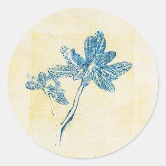 Klistermärke för växt för Monoprint blåttlöv