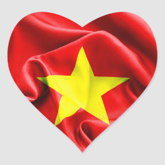 Klistermärke för Vietnam flaggahjärta