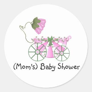 Klistermärke-Gulligt rosa badkar för baby shower Runt Klistermärke