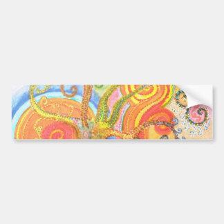 Klistermärke med Psychedelic färgglad träddesign